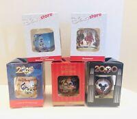 Vtg Disney Store Lot Of 5 Christmas Ball Glass Ornaments In Box USA!