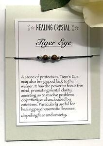Tiger's  Eye Gemstone bracelet Reiki Chakra Anxiety Stress Healing Crystal Gift