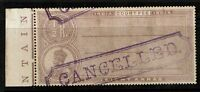 """India 1913 8a Court Fee """"Cancelled"""" SPECIMEN / MH / Toned Gum - S2228"""
