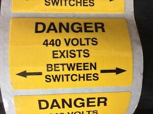 10 x 'Danger 440 Volts' Electrical Safety Warning Labels 80mm x 50mm Free P&P