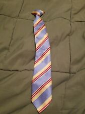 Boys George clip On Tie Blue W/ Stripes