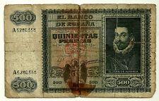 BILLETE DE 500 PESETAS DE 1940 (RC) JUAN DE AUSTRIA (SERIE A) ROTURAS