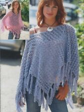 Ladies and Girls 8 Ply Crochet Patterns SHAWL/Poncho fringed ~ Great for Spring