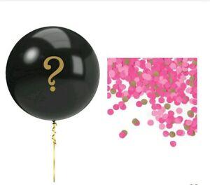 Pink Gender Reveal Balloon 5pc Kit Girl Black ? Confetti