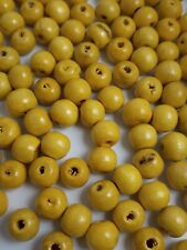 50pcs Bright Yellow Wooden Round Spacer Beads 10x9mm Jewellery Crafts - B11036