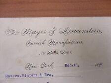 Vintage Letterhead Mayer & Loewenstein Varnish Manufacturers New York 12/15/1893