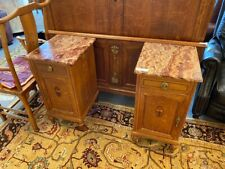 French Style Marble Top Nightstands, Pair