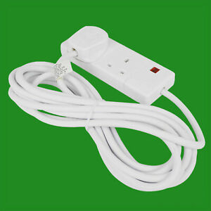 6m White 2 Way Extension Lead Cable 13A 3 Pin UK Socket With Neon Light