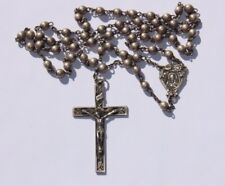 Old Vintage Solid 925 Sterling Silver Religious Rosary and Crucifix