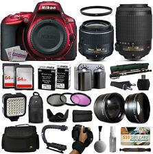 Nikon D5500 rojo Cámara DSLR + 18-55mm VR II + 55-200mm VR + 128gb Premium Kit
