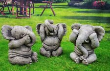 Hand Made Three Wise Elephants Garden Ornaments Conservatory Animal Figures