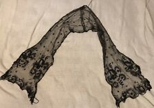 Antique Late 1800's Black Lace Mourning Scarf Flowers 57� By 12� Exquisite