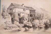"""Orig. Radierung: """"Alte Mühle am Bach"""" von Jean-Baptiste Hubert (47)"""