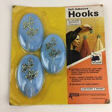 Vtg set 3 Plastic Retro Coat Wall Hook Hanger Blue Gold Floral Action 1970s NOS
