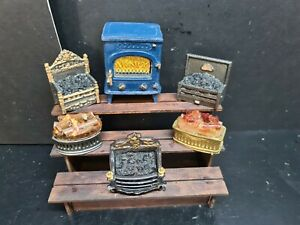 dolls house accessories job lot 6x assorted light up fires   1.12th Y