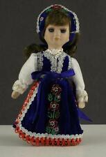 "Vintage Ethnic COSTUME DOLL Porcelain Girl Beaded Rose Dress & Hat 8"" Tall"