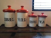 VINTAGE CERAMIC KITCHEN CANISTER SET  BY HOLIDAY DESIGNS CoffeeTeaCookieFlour