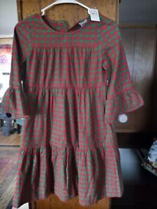 NWT Girls 140 10 years Hanna Andersson Christmas Plaid Flannel Dress