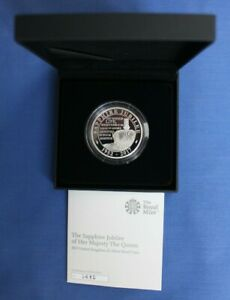 """2017 Silver Proof £5 Crown coin """"Sapphire Jubilee"""" in Case with COA"""