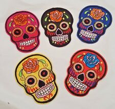 """SUGAR SKULL IRON ON PATCHES SET OF 5  BLUE RED YELLOW PINK BLACK 3.5"""" BY 2.75"""""""
