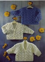 Sirdar Vintage Knitting Pattern Baby DK Cable Sweaters Cardigans 16-26""