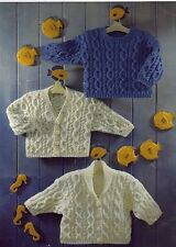 """Sirdar Vintage Knitting Pattern Baby DK Cable Sweaters Cardigans 16-26"""""""