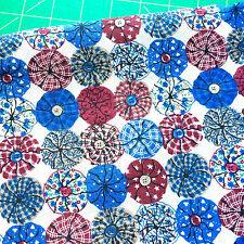 Yo-Yo Pincushions Button Fabric Red Blue and Ivory by Fabric Traditions Quilting