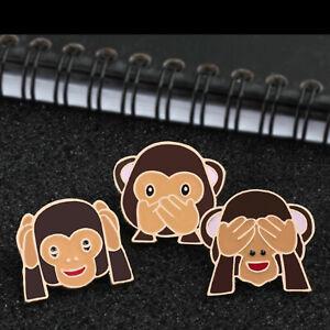 Monkey Emoji Enamel Pin Badges Brooches See No Evil Hear No Evil Speak No Evil