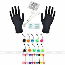 30pc 14G Body Piercing Kit Needle UV Steel Tongue Navel Ring Forcep Tool Set