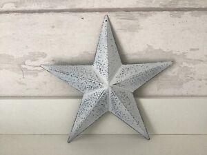 White wash rustic metal Tin Barn Star 20cm