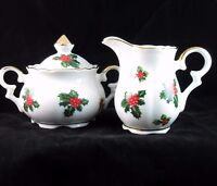 Lefton 7949 Holly Berry Christmas Sugar Bowl Creamer Set Winter Holiday Vintage