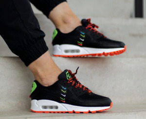 Nike Women's Air Max 90 WW Worldwide Shoes Black Flash Crimson CK7069-001 NEW