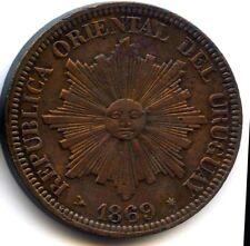 Uruguay République 4 Centesimos 1869 H Birmingham KM 13