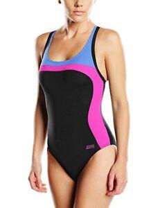 Zoggs Pearl Smartback Aqualast Swimsuit Swimming Costume - Black / UK 12