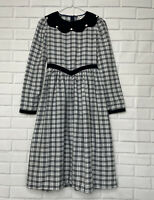 Vintage Girls Long Sleeve Dress 14 Sz Plaid Blue Collared
