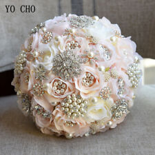 Beige Rose Pearl Crystal Brooch Bride Bridesmaid Bouquet Wedding Flowers Gift