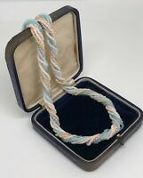 Micro Bead Rope Twist Necklace Gold Tone Pastel Colours 1980s RETRO  Pearlised