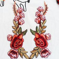 Rose Blume Blüten Stickerei Aufnäher Applikation Aufbügeln Patch Kleid Dekor