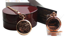 DAD Engraved Pocket Watch 24k Gold Custom Engraving Luxury Wooden Case