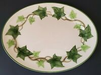 """Franciscan Green Ivy Platter 11"""" Oval Hand Painted Green Rim Made in California"""