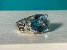 """🌸 Silpada Sterling Silver """"Blue Cove"""" Aqua Glass Cocktail Ring Size 8 ( R59) 🌸"""