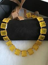 NWT J. Crew 100% Authentic Light Mustard Crystal Symphony Necklace & dust bag