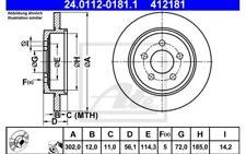1x ATE Disco de Freno Trasero Pleno 302mm 24.0112-0181.1