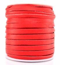 "Deerskin Deer Leather Lace Spool Roll 3/16"" 5MM 50 Ft Lacing Cord String Red"
