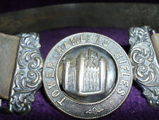 RARE VICTORIAN SILVER TOWER HAMLETS RIFLES OFFICERS BELT BUCKLE & BELT/MILITARIA