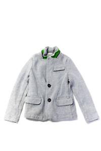 Armani Junior Boys Cotton Knit Blazer Style Cardigan Sweatshirt Gray Size 8