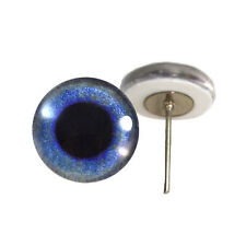 Pair of 12mm Blue Crow Glass Eyes on Wire Pin Posts for Felt Doll Making
