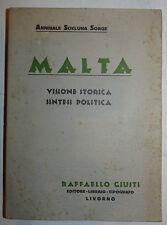 Storia, Scicluna Sorge: Malta Visione Storica Sintesi Politica 1932 autografo