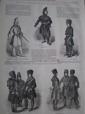 Trajes de invierno de ejército británico en Canadá 1849 antiguos impresión mi REF T
