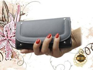 Damen Geldbörse Franko XXL Frauen Portemonnaie Echt Leder schwarz grau BB13